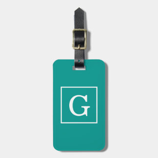 Dark Teal White Framed Initial Monogram Luggage Tag