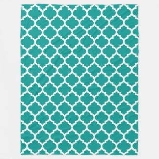 Dark Teal White Moroccan Quatrefoil Pattern #5 Fleece Blanket