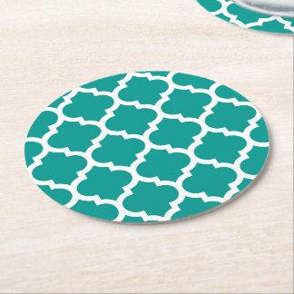 Dark Teal White Moroccan Quatrefoil Pattern #5 Round Paper Coaster