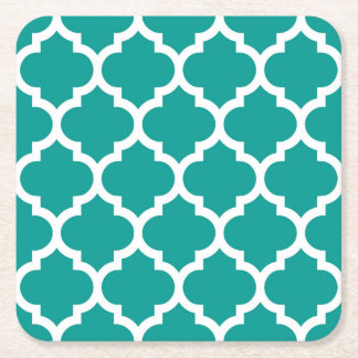 Dark Teal White Moroccan Quatrefoil Pattern #5 Square Paper Coaster