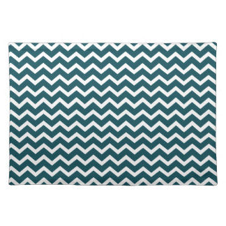 Dark Teal Zig Zag Chevrons Pattern Placemats