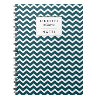 Dark Teal Zigzags Pattern Personalized Notebook