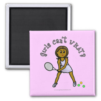 Dark Tennis Player Girl Square Magnet
