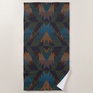 Dark Tribal Pattern Beach Towel