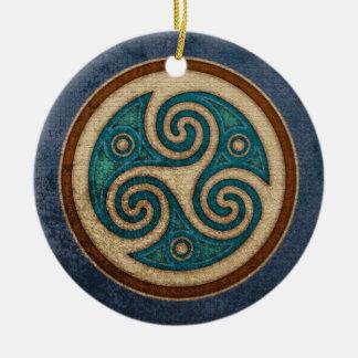 Dark Triskele Pendant/Ornament Round Ceramic Decoration