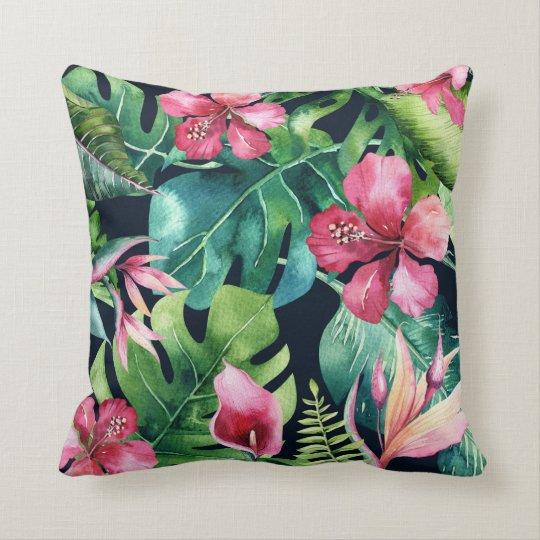 Dark Tropical Palm Leaves Hibiscus Floral Island Cushion
