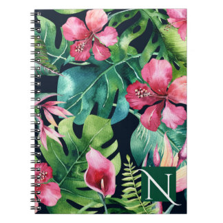 Dark Tropical Palm Leaves Hibiscus Floral Island Notebooks