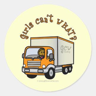 Dark Truck Driver Girl Round Stickers