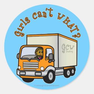 Dark Truck Driver Girl Round Sticker