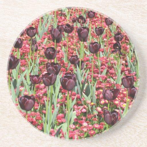 Dark Tulip and Red Flowers Flower Carpet Coaster