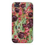 Dark tulips and red flower carpet iphone 4 cover