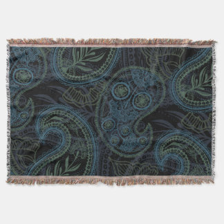 Dark Turquoise, Blue and Green Paisley