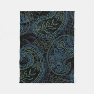 Dark Turquoise, Blue and Green Paisley Fleece Blanket