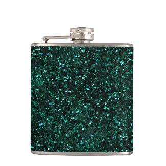 Dark Turquoise Blue Green Glitter Hip Flask
