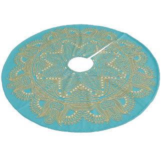 Dark Turquoise Blue Green Mandala Star Pattern Fleece Tree Skirt