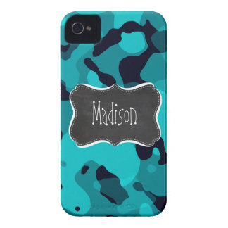 Dark Turquoise Camo; Chalkboard look Case-Mate iPhone 4 Case