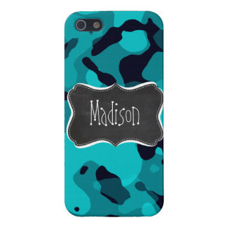 Dark Turquoise Camo; Chalkboard look iPhone 5/5S Case