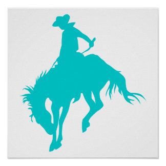 Dark Turquoise Cowboy Poster