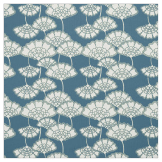 Dark turquoise floral Japanese pattern Fabric