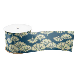 Dark turquoise floral Japanese pattern Satin Ribbon