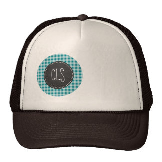 Dark Turquoise Gingham; Chalkboard look Mesh Hat