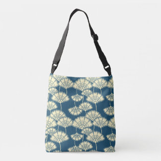 Dark turquoise gold foil floral Japanese pattern Crossbody Bag