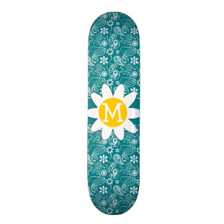 Dark Turquoise Paisley Daisy Custom Skate Board