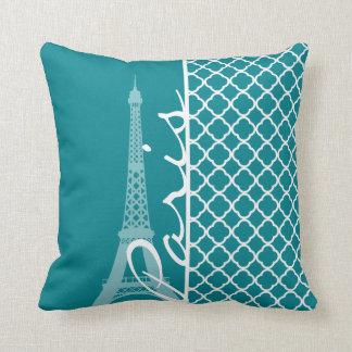 Dark Turquoise Quatrefoil; Eiffel Tower, Paris Cushion