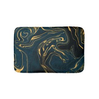 Dark Turquoise Teal Gold Black Deep Abstract Art. Bath Mat