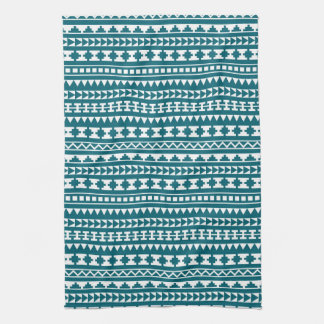 Dark Turquoise Tribal Aztec Pattern Tea Towel