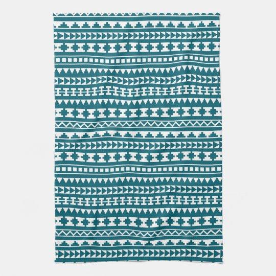 Dark Turquoise Tribal Aztec Pattern Tea Towel