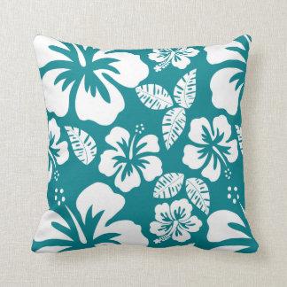 Dark Turquoise Tropical Hibiscus Cushion