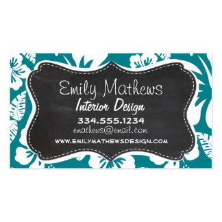 Dark Turquoise Tropical Hibiscus; Retro Chalk look Pack Of Standard Business Cards