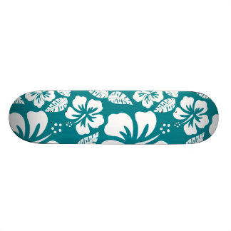 Dark Turquoise Tropical Hibiscus Skateboards