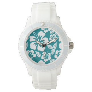 Dark Turquoise Tropical Hibiscus Watch