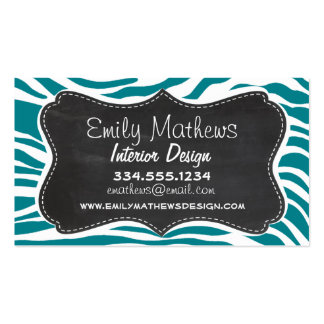 Dark Turquoise Zebra Stripes; Chalkboard Pack Of Standard Business Cards