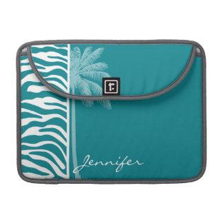 Dark Turquoise Zebra Stripes; Summer Palm Sleeve For MacBooks