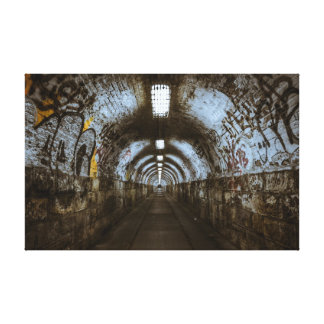 Dark underground tunnel canvas print