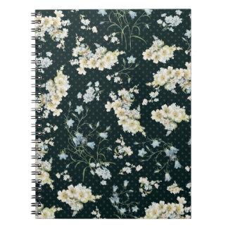 Dark vintage flower wallpaper pattern notebook