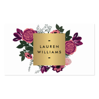 Dark Vintage Modern Floral Motif Luxe Designer I Pack Of Standard Business Cards