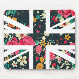Dark Vintage Rose Union Jack British(UK) Flag Mouse Mat