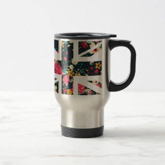 Dark Vintage Rose Union Jack British(UK) Flag Travel Mug