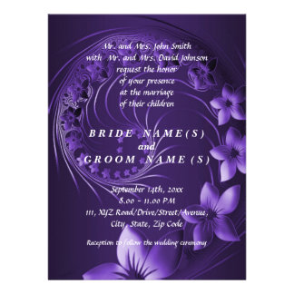 Dark Violet Abstract Flowers Personalized Announcement