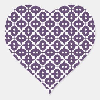 Dark Violet Plum And White Pattern Heart Sticker
