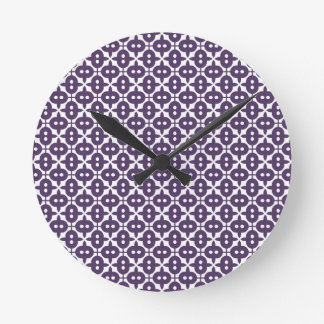 Dark Violet Plum And White Pattern Round Clock