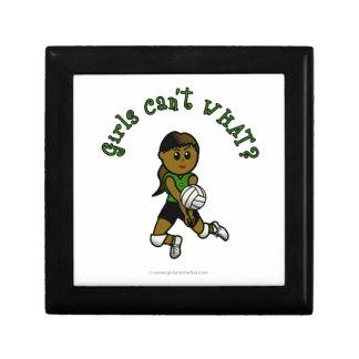 Dark Volleyball Girl in Green Uniform Trinket Boxes