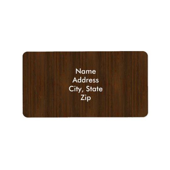 Dark Walnut Brown Bamboo Wood Grain Look Address Label