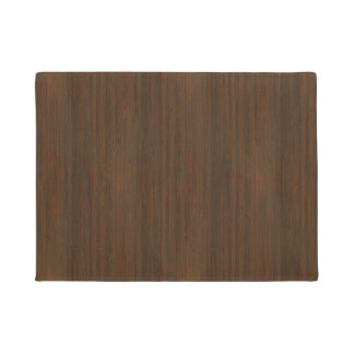 Dark Walnut Brown Bamboo Wood Grain Look Doormat