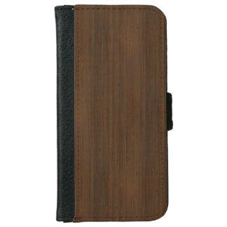 Dark Walnut Brown Bamboo Wood Grain Look iPhone 6 Wallet Case