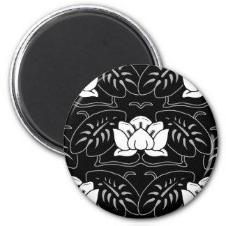 Dark Water Lily Motif 6 Cm Round Magnet